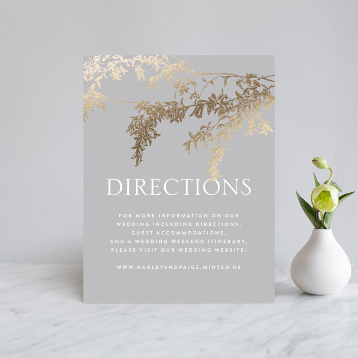 """lush garland"" - Foil-pressed Direction Cards in Stone by Design Lotus."