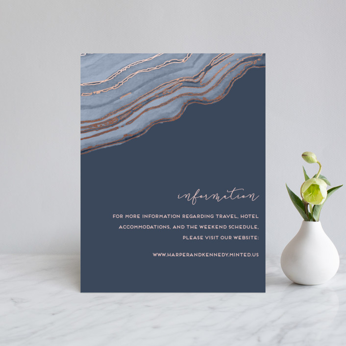 """Modern Agate"" - Foil-pressed Direction Cards in Navy by Kaydi Bishop."