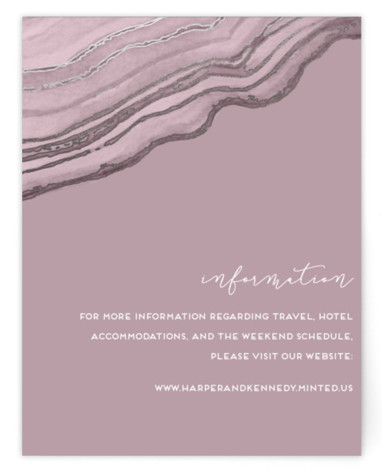 This is a purple, silver Direction Cards by Kaydi Bishop called Modern Agate with Foil Pressed printing on Signature in Card Flat Card format. Hand painted watercolor agate in a strikingly modern layout accented with rose gold foil veining.