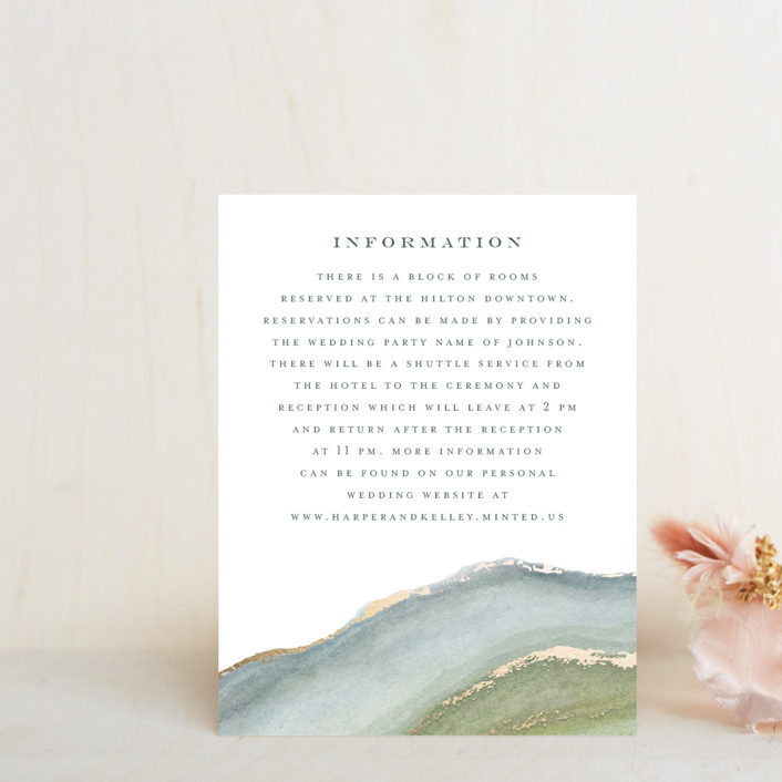"""Coastal Lines"" - Foil-pressed Direction Cards in Moss by Grace Kreinbrink."