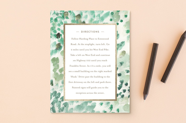 """painted wedding"" - Foil-pressed Direction Cards in Sea Grass by Sara Hicks Malone."