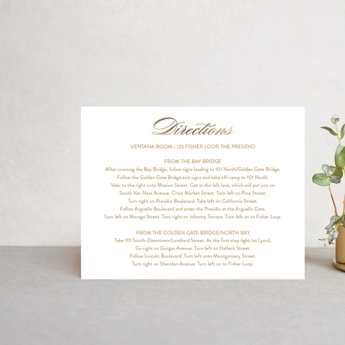 """""""Fashion District"""" - Foil-pressed Direction Cards in Black Tie by Jill Means."""