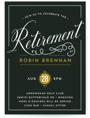 Classy Retirement Retirement Party Online Invitations