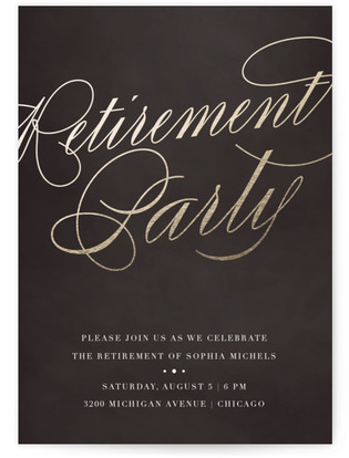 Gilded Cocktails Retirement Party Online Invitations