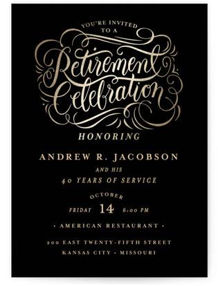 Golden Retirement Retirement Party Online Invitations