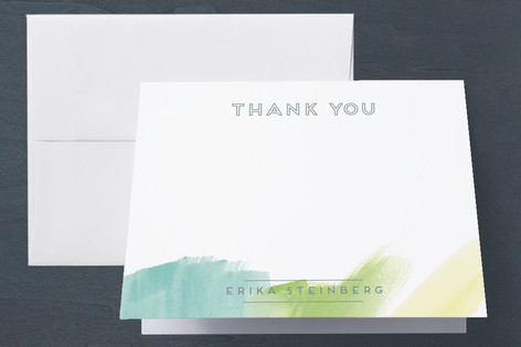 Abstract Watercolor Party Adult Birthday Party Thank You Cards