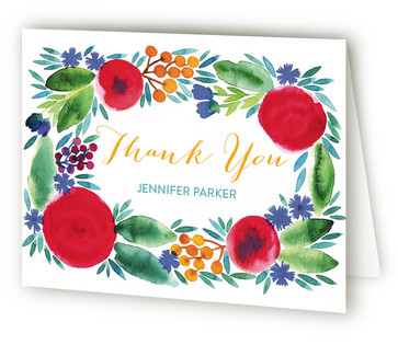 Garden Flowers Adult Birthday Party Thank You Cards
