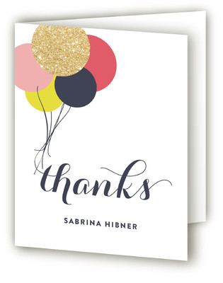 Glitter Fetti Fest Adult Birthday Party Thank You Cards