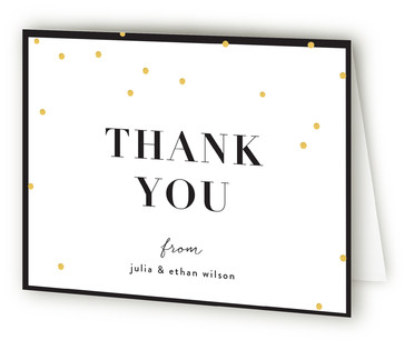 Gold Confetti Adult Birthday Party Thank You Cards