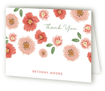 Pretty Poppies Adult Birthday Party Thank You Cards