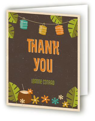 Vintage Tiki Party Adult Birthday Party Thank You Cards