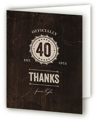 Woodsy Bottlecap Adult Birthday Party Thank You Cards