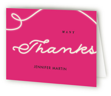 Neon Cheers Adult Birthday Party Thank You Cards