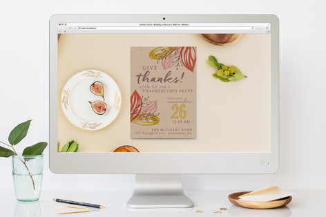 Artsy Leaves Thanksgiving Thanksgiving Online Invitations