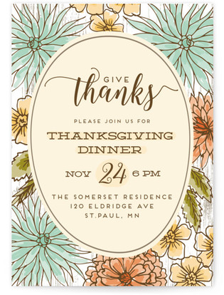 Fall Flowers Thanksgiving Online Invitations