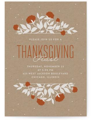 Florals on Kraft Thanksgiving Online Invitations