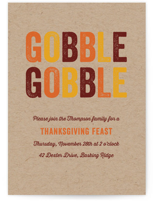 Gobble Gobble Thanksgiving Online Invitations