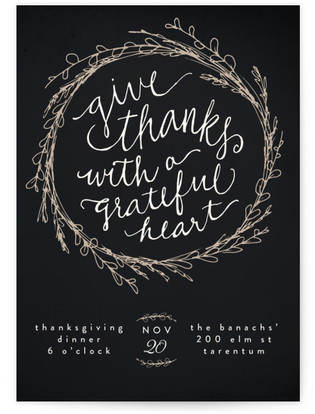 Grateful Heart Wreath Thanksgiving Online Invitations