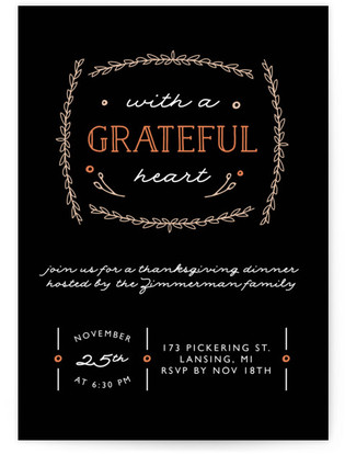 Grateful Laurel Thanksgiving Online Invitations