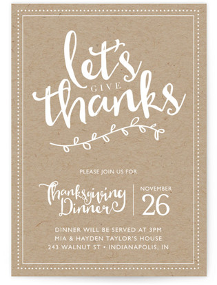 Let's Give Thanks Thanksgiving Online Invitations
