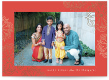 This is a red diwali card by Morgan Kendall called mandala printing on doublethick in standard.