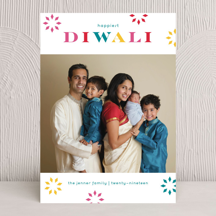 """Bright Bursts"" - Traditional Diwali Cards in Teal by lena barakat."