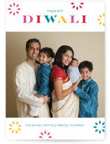 This is a blue diwali card by lena barakat called Bright Bursts printing on smooth signature in standard.