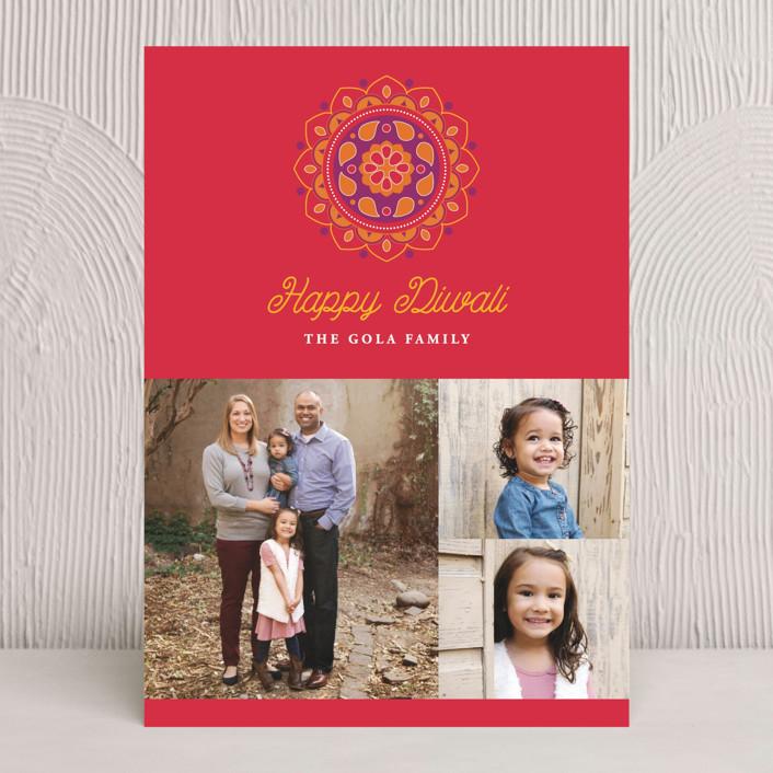 """Festive Rangoli"" - Traditional Diwali Cards in Cinnamon by Sandra Picco Design."