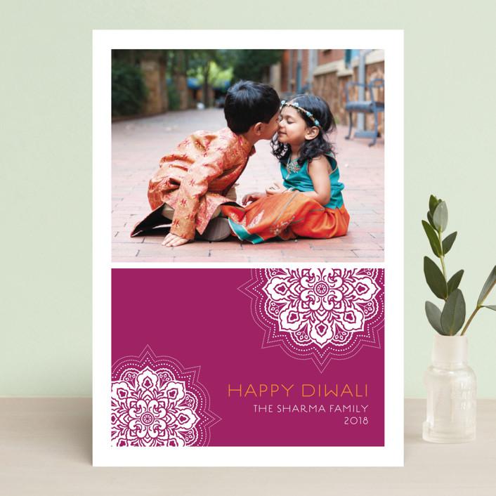 """Modern Rangoli"" - Modern, Hand Drawn Diwali Cards in Plum by Coco and Ellie Design."