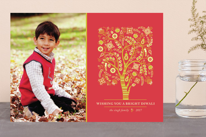 """Tree of Life"" - Vintage, Hand Drawn Diwali Cards in Tomato by Kimberly Morgan."