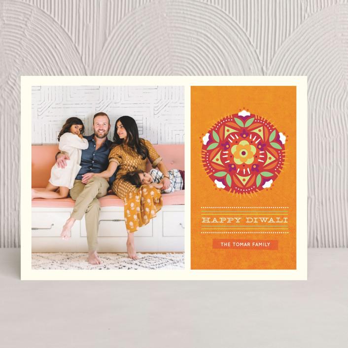 """Floral Rangoli"" - Vintage, Modern Diwali Cards in Pumpkin by Kristen Smith."