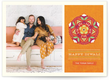 This is a orange diwali card by Kristen Smith called Floral Rangoli printing on smooth signature in standard.