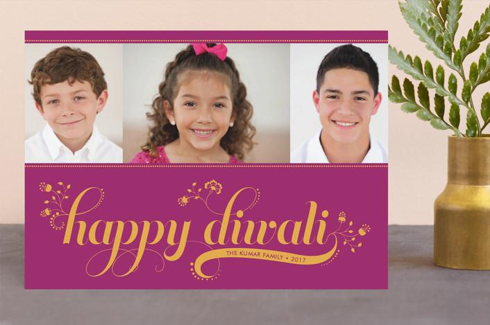 """Floral Diwali"" - Modern, Rustic/Craft Diwali Cards in Fuschia by Coco and Ellie Design."