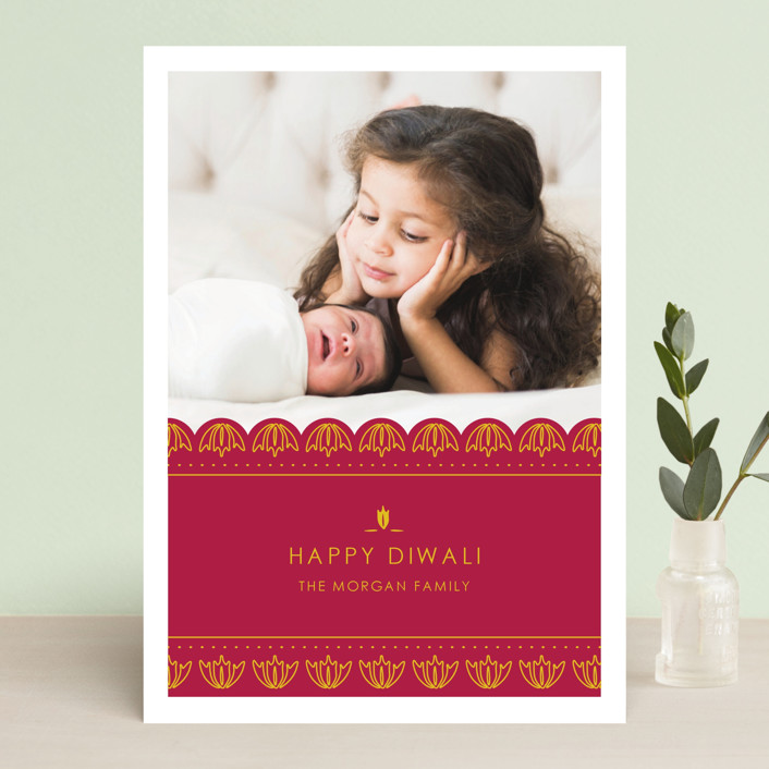 """Diya Festival"" - Modern, Minimalist Diwali Cards in Cherry by Smudge Design."