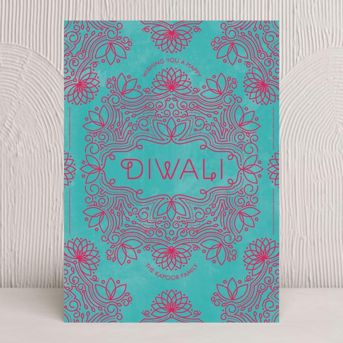 """Festive Lotus"" - Diwali Cards in Magenta by Aspacia Kusulas."