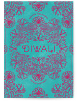 This is a red diwali card by Aspacia Kusulas called Festive Lotus printing on signature in standard.