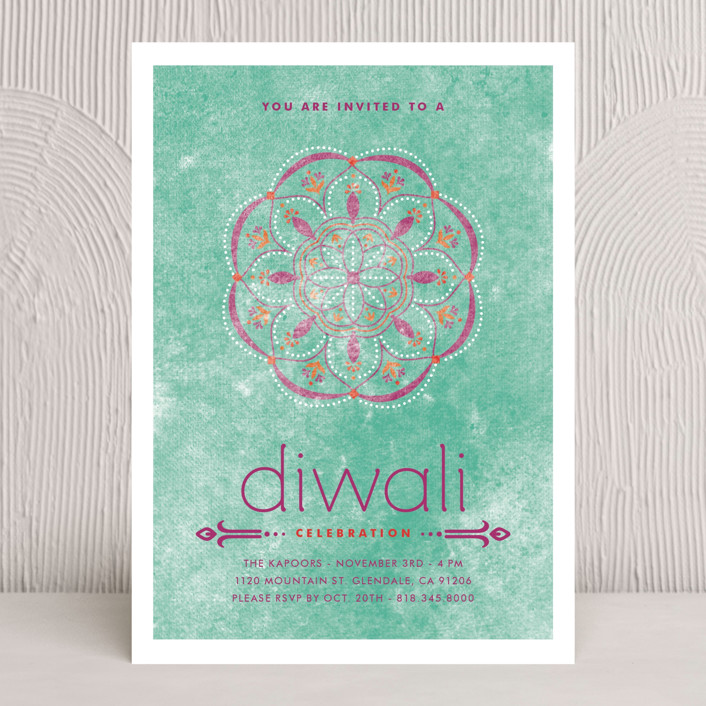 """Celebratory Ringol"" - Diwali Cards in Turquoise by Aspacia Kusulas."