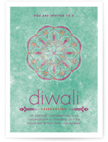 This is a blue diwali card by Aspacia Kusulas called Celebratory Ringol printing on signature in standard.