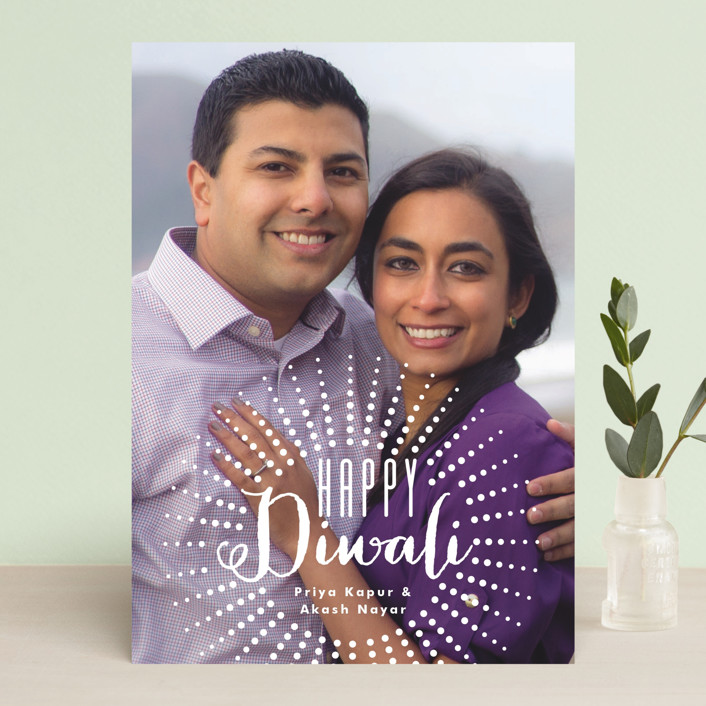 """Happy Diwali Bursts"" - Full-Bleed Photo, Simple Diwali Cards in Bright White by Alethea and Ruth."