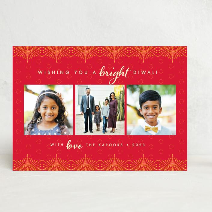 """""""Happy Diwali Trio"""" - Bohemian, Elegant Diwali Cards in Marigold by Christie Kelly."""