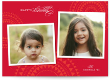 This is a red diwali card by Creo Study called abstract rangoli printing on smooth signature in standard.