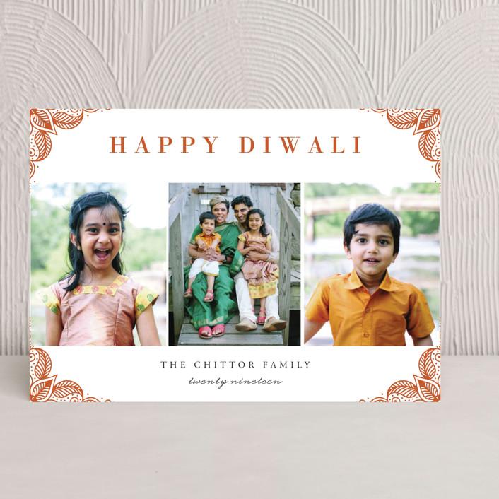 """Rangoli Corners"" - Diwali Cards in Rust by Oma N. Ramkhelawan."