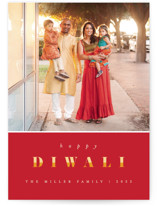 This is a red diwali card by Pixel and Hank called Bright Diwali printing on smooth signature in standard.