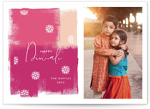 This is a pink diwali card by Nazia Hyder called Diwali Splash printing on smooth signature in standard.