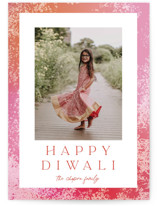 This is a pink diwali card by Angela Garrick called Light printing on recycled smooth signature in standard.