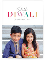 This is a colorful diwali card by Ashley Rosenbaum called Shubh Diwali printing on recycled smooth signature in standard.