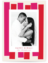 This is a pink diwali card by AK Graphics called Diwali Streamers printing on recycled smooth signature in standard.