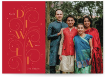 This is a red diwali card by letterfix called Sparkler printing on recycled smooth signature in standard.