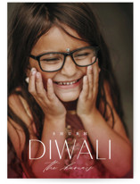 This is a pink diwali card by Erin L. Wilson called Fade printing on recycled smooth signature in standard.