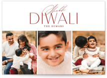This is a red diwali card by Erin L. Wilson called Three of a kind printing on recycled smooth signature in standard.